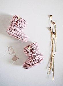 Topánočky - Papučky pre bábätko - dievčatko (Ružová - dĺžka: 9 cm) - 11579253_