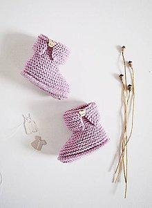 Topánočky - Papučky pre bábätko - dievčatko (Levanduľová - dĺžka: 9 cm) - 11579254_