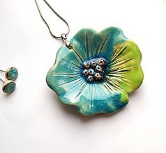 Náhrdelníky - keramický prívesok Tyrkysový kvet - 11578665_