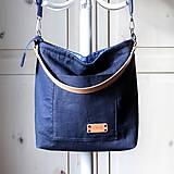 Veľké tašky - Veľká ľanová taška *navy* - 11578586_