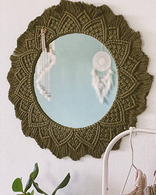 Zrkadlá - Makramé zrkadlo - 11579622_
