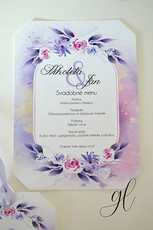 Svadobné tlačoviny pečať  (svadobné menu)