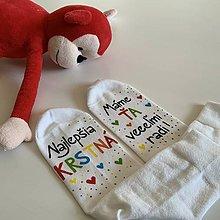 Obuv - Maľované ponožky pre najlepšiu /výnimočnú KRSTNÚ (biele 2) - 11579952_