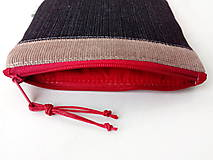 Taštičky - Vyšívaná taštiačka sashiko na riflovine - 11578663_