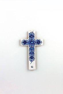 Dekorácie - Kríž (Modrý dekór) - 11582018_