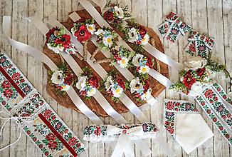 Náramky - Folk kvetinový náramok pre družičky - 11584224_