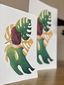 Grafika - Monstera love -  Print | Botanická ilustrácia - 11584161_