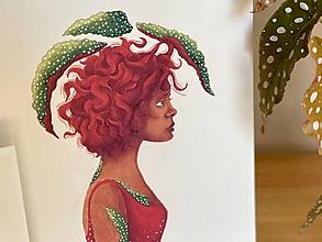 Grafika - Melancholická červenovláska - Print | Botanická ilustrácia - 11584235_