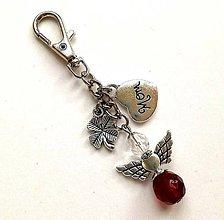 """Kľúčenky - Kľúčenka """"mama/mom"""" s anjelikom - bordová - 11580878_"""