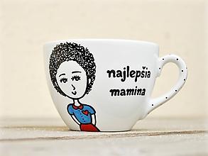 Nádoby - Maľovaná porcelánová šálka s postavičkou a venovaním pre maminu (šálka 200 ml) - 11583347_