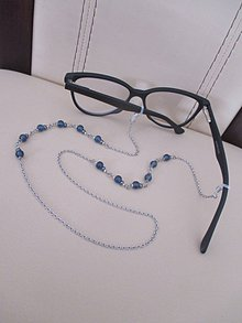 Iné doplnky - Retiazka na okuliare - zlato/tmavomodrá - chirurgická oceľ - 11581876_