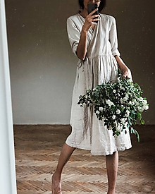 Šaty - Dámske ľanové zavinovacie šaty/kabátik - 11584233_