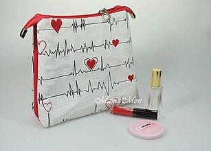 Taštičky - kozmetická taštička - EKG svetlá - 11583123_