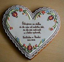 Dekorácie - Medovníkové srdce 26 cm - poďakovanie rodičom - 11583387_