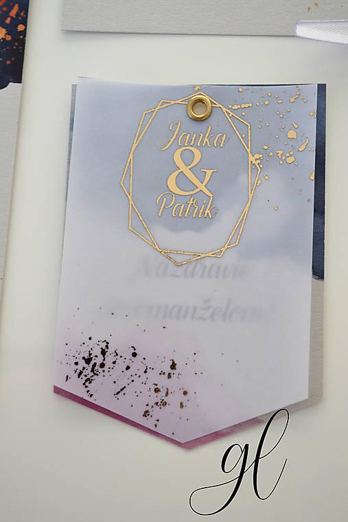 Svadobné oznámenie transparent akvarel (štítok na fľašu transparent)