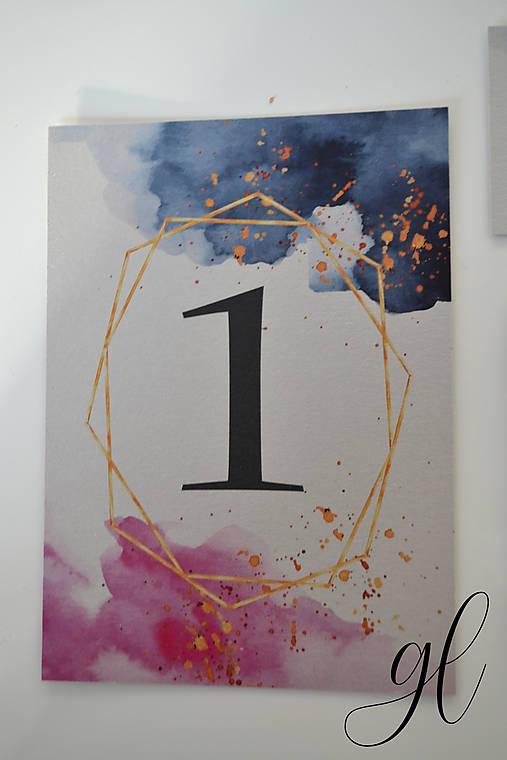 Svadobné oznámenie transparent akvarel (číslo stola)