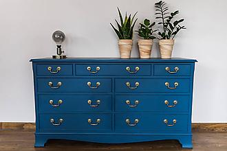 Nábytok - Modrá zásuvková komoda - 11583701_