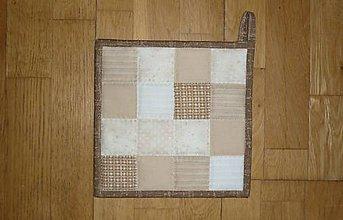 Úžitkový textil - Chňapka béžovo-hnedá (rozmer cca 21 x 21 cm) - 11587101_