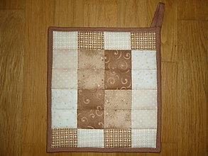 Úžitkový textil - Chňapka béžovo-hnedá (rozmer cca 22,50 x 21 cm) - 11587137_