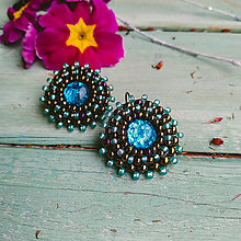 Náušnice - Sparkly earrings n.20- vyšívané náušnice - 11585059_