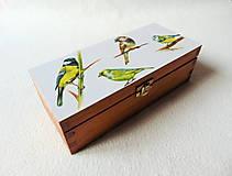Drevená krabička Vtáčiky