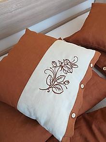Úžitkový textil - Ľanový vankúš s ružou - 11587527_