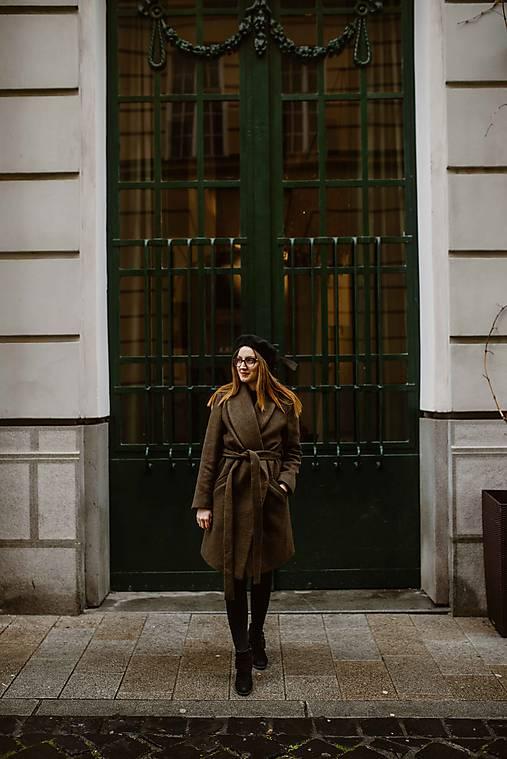 Upcyklovaný kabát BELLA-hnedý