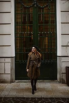 Kabáty - Upcyklovaný kabát BELLA-hnedý - 11585480_