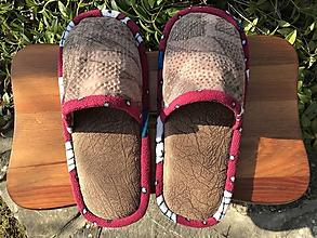 Obuv - Hnedé papuče z poťahovky - 11585460_