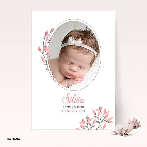 Personalizovaný obrázok s fotkou a údajmi o narodení