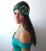 Ľanová turban čelenka - Dark Green 1