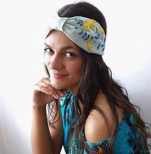 Ozdoby do vlasov - Ľanová turban čelenka - Mint 1 - 11584414_