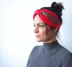 Ozdoby do vlasov - Ľanová turban čelenka - Red 1 - 11584446_