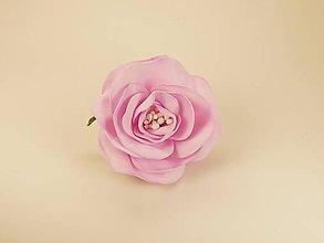 Brošne - Brošňa ružička, cca 6cm - penová hmota Foamiran, biž. kov, bledofialová - 11586985_