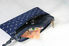 Taštičky - Modrotlačová taštička na mobil a peniaze  Iris 1 - 11585637_