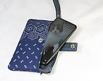 Taštičky - Modrotlačová taštička na mobil a peniaze  Iris 1 - 11585640_