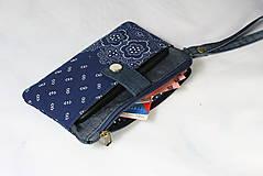 Taštičky - Modrotlačová taštička na mobil a peniaze  Iris 1 - 11585649_