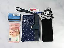 Taštičky - Modrotlačová taštička na mobil a peniaze  Iris 1 - 11585655_