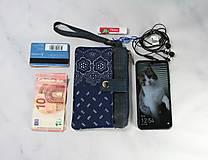 Taštičky - Modrotlačová taštička na mobil a peniaze  Iris 1 - 11585656_