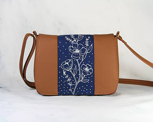 modrotlačová kabelka Eliška hnedá AM 1