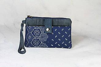 Taštičky - Modrotlačová taštička na mobil a peniaze  Iris 1 - 11585647_