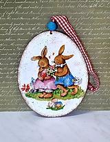 Dekorácie - maxi kraslica zamilované zajačiky /zĺava zo 6 na 5,50/ - 11584996_