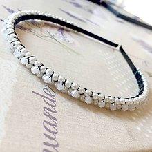 Ozdoby do vlasov - White Wedding Crystal Beaded Headband / Korálková čelenka biela - svadobná /S0011 - 11588461_