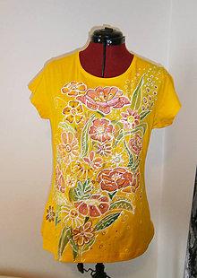 Tričká - kvety v žltom-obojstranne maľované 2 - 11589233_