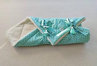 Textil - Vlnienka Klasická zavinovačka pre novorodenca zimná 100% MERINO TOP MINT mentolová bodka - 11590411_