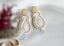 - Béžové svadobné šujtášové náušnice so Swarovski kryštálmi Valentína - 11589996_