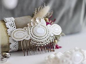 Ozdoby do vlasov - Svadobný šujtášový hrebienok do vlasov Valentína - 11589964_