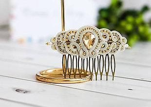 Ozdoby do vlasov - Svadobný šujtášový hrebienok do vlasov Valentína (Béžová) - 11590308_