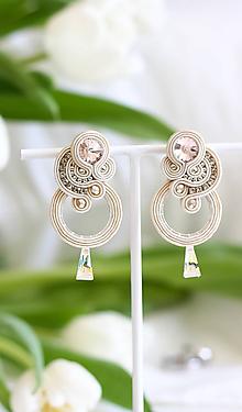 Náušnice - Svadobné šujtášové náušnice so Swarovski kryštálmi Valentína (Béžová) - 11590365_