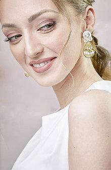 Náušnice - Svadobné šujtášové náušnice so Swarovski kryštálmi Valentína (Béžová) - 11590374_